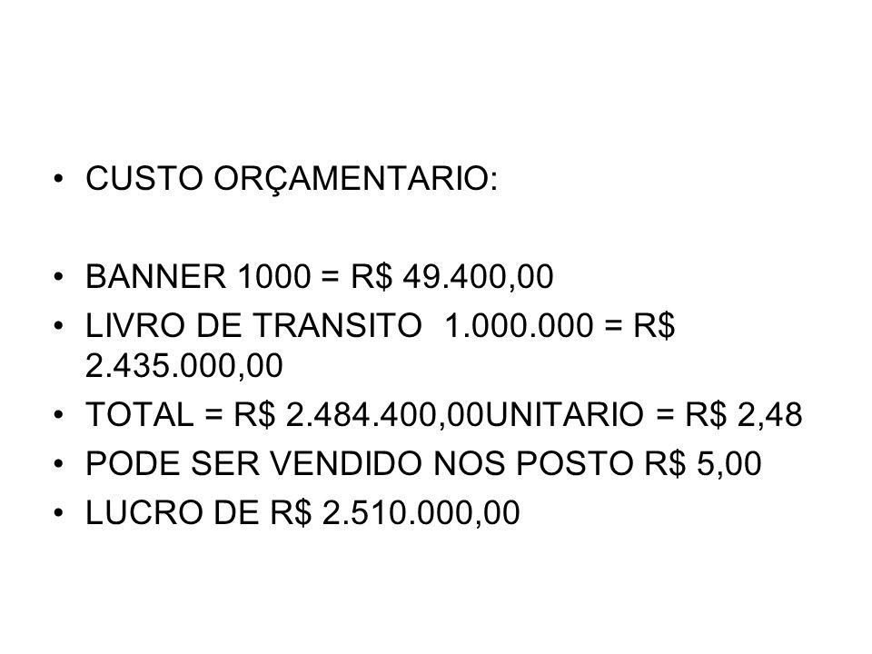 CUSTO ORÇAMENTARIO: BANNER 1000 = R$ 49.400,00 LIVRO DE TRANSITO 1.000.000 = R$ 2.435.000,00 TOTAL = R$ 2.484.400,00UNITARIO = R$ 2,48 PODE SER VENDID