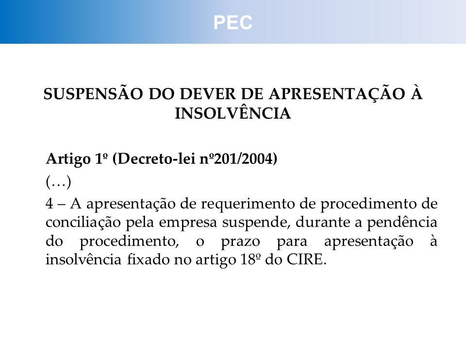 SUSPENSÃO DO DEVER DE APRESENTAÇÃO À INSOLVÊNCIA Artigo 1º (Decreto-lei nº201/2004) (…) 4 – A apresentação de requerimento de procedimento de concilia