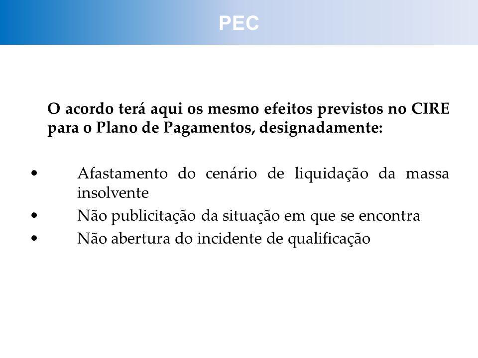 O acordo terá aqui os mesmo efeitos previstos no CIRE para o Plano de Pagamentos, designadamente: Afastamento do cenário de liquidação da massa insolv