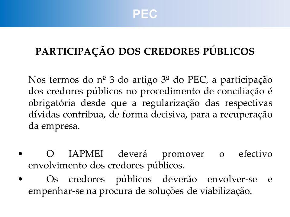 PARTICIPAÇÃO DOS CREDORES PÚBLICOS Nos termos do nº 3 do artigo 3º do PEC, a participação dos credores públicos no procedimento de conciliação é obrig