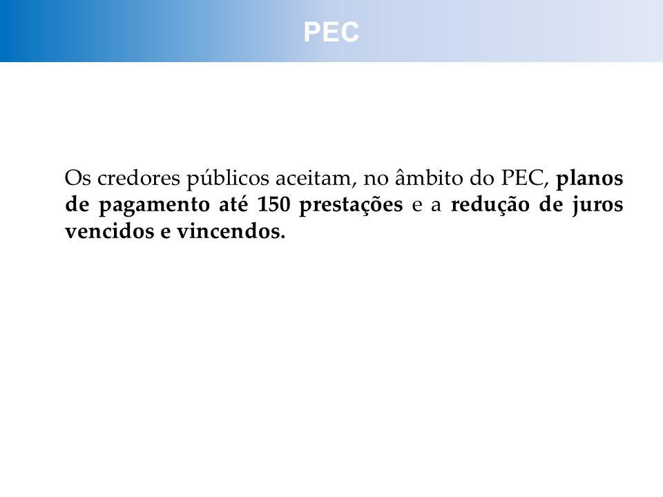 Os credores públicos aceitam, no âmbito do PEC, planos de pagamento até 150 prestações e a redução de juros vencidos e vincendos. PEC