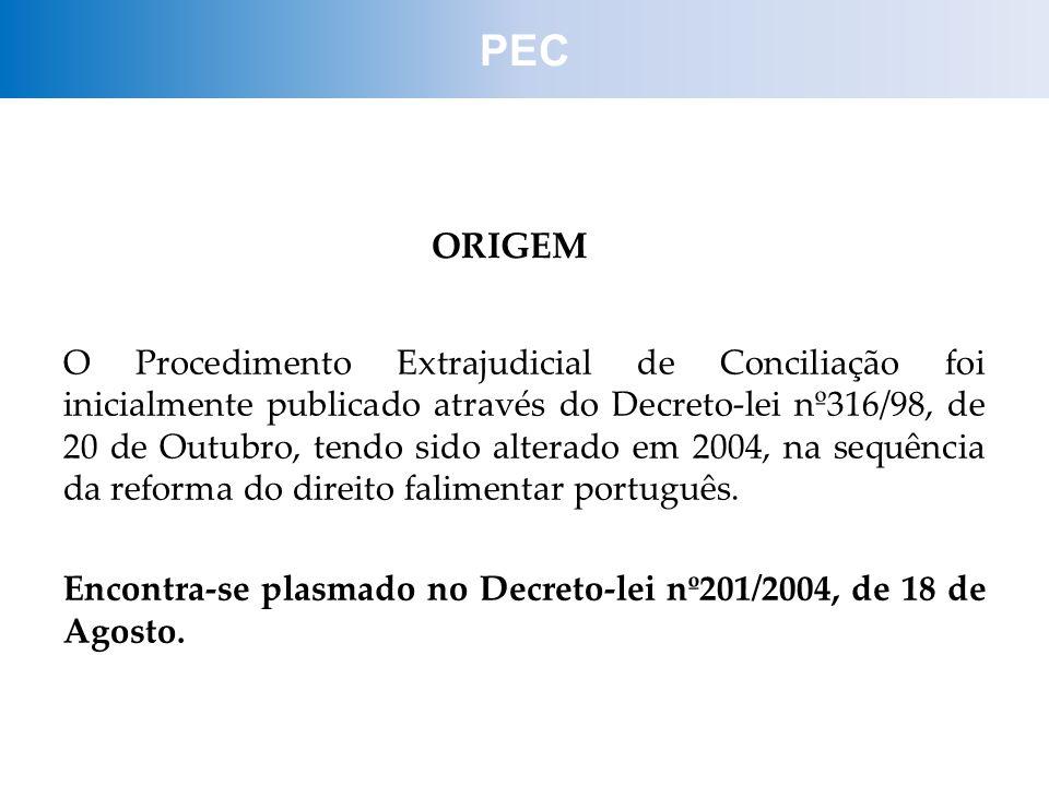 PEC ORIGEM O Procedimento Extrajudicial de Conciliação foi inicialmente publicado através do Decreto-lei nº316/98, de 20 de Outubro, tendo sido altera