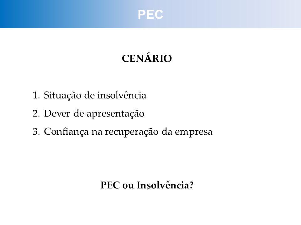 CENÁRIO 1.Situação de insolvência 2.Dever de apresentação 3.Confiança na recuperação da empresa PEC ou Insolvência? PEC