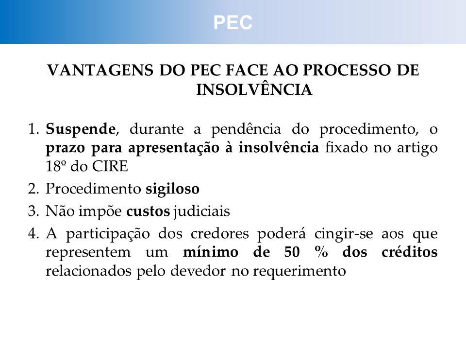 VANTAGENS DO PEC FACE AO PROCESSO DE INSOLVÊNCIA 1.Suspende, durante a pendência do procedimento, o prazo para apresentação à insolvência fixado no ar