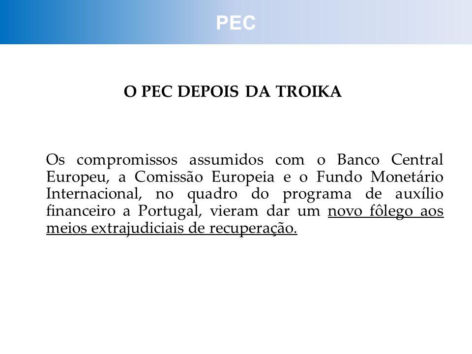 O PEC DEPOIS DA TROIKA Os compromissos assumidos com o Banco Central Europeu, a Comissão Europeia e o Fundo Monetário Internacional, no quadro do prog