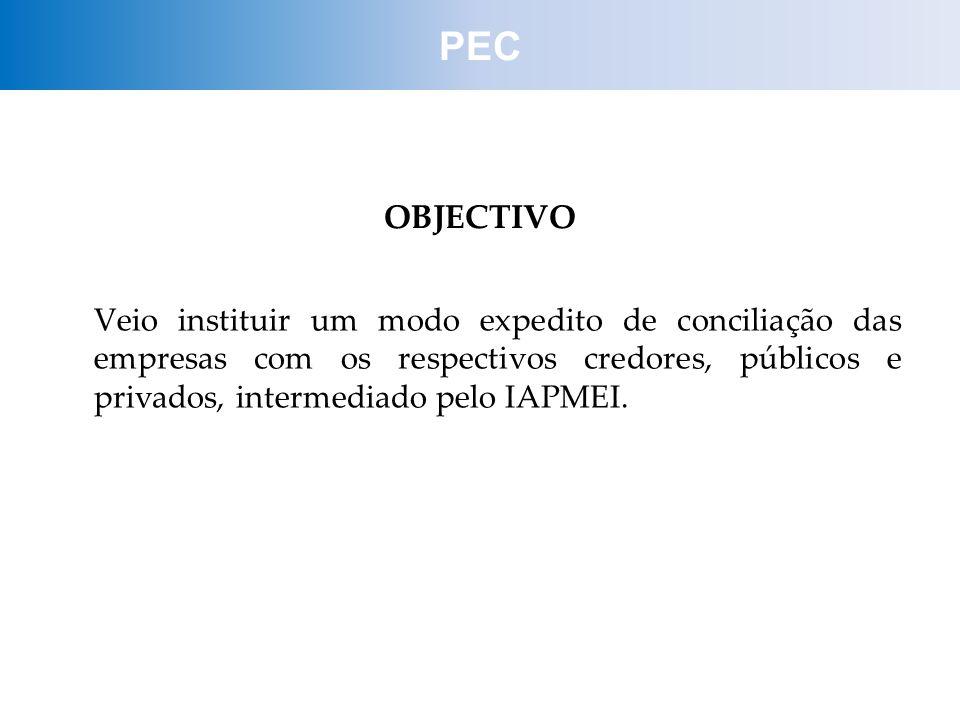 OBJECTIVO Veio instituir um modo expedito de conciliação das empresas com os respectivos credores, públicos e privados, intermediado pelo IAPMEI. PEC