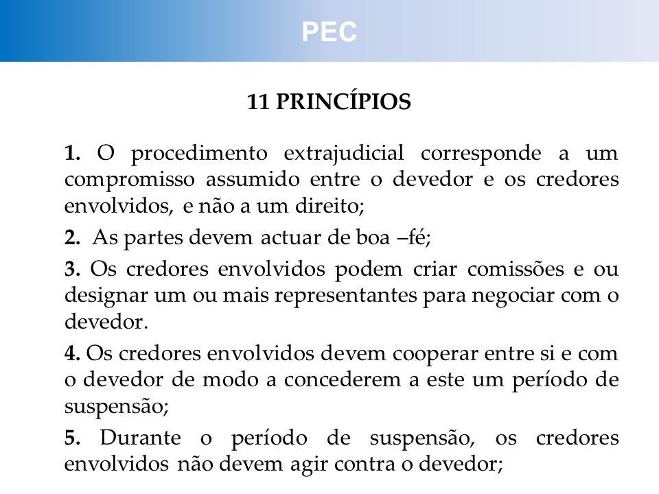11 PRINCÍPIOS 1. O procedimento extrajudicial corresponde a um compromisso assumido entre o devedor e os credores envolvidos, e não a um direito; 2. A