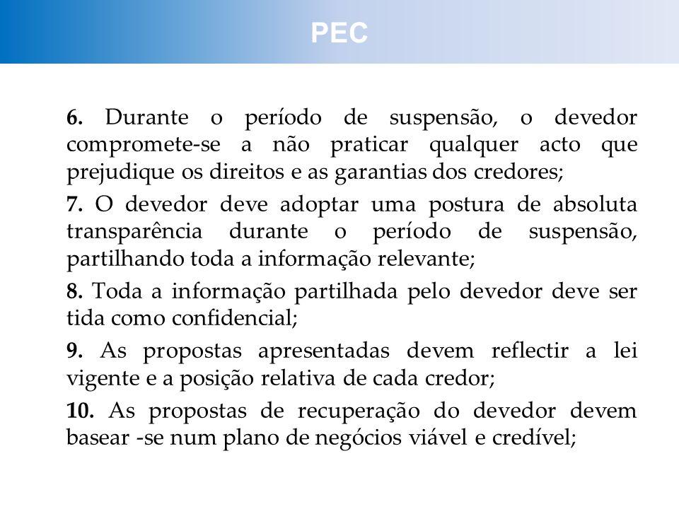 6. Durante o período de suspensão, o devedor compromete-se a não praticar qualquer acto que prejudique os direitos e as garantias dos credores; 7. O d