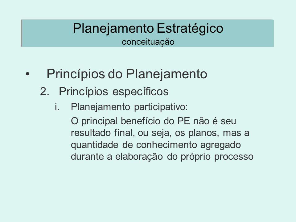 Planejamento Estratégico conceituação Princípios do Planejamento 2.Princípios específicos i.Planejamento participativo: O principal benefício do PE nã