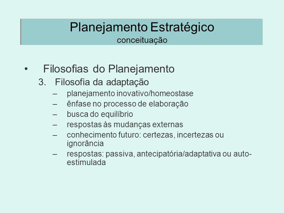 Planejamento Estratégico conceituação Filosofias do Planejamento 3.Filosofia da adaptação –planejamento inovativo/homeostase –ênfase no processo de el