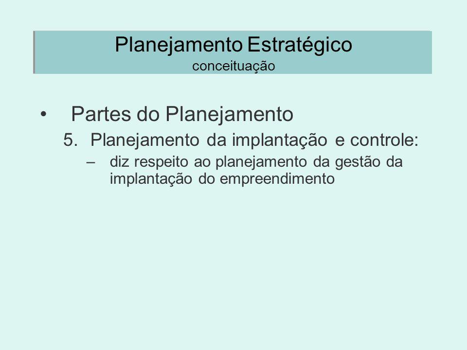 Planejamento Estratégico conceituação Partes do Planejamento 5.Planejamento da implantação e controle: –diz respeito ao planejamento da gestão da impl