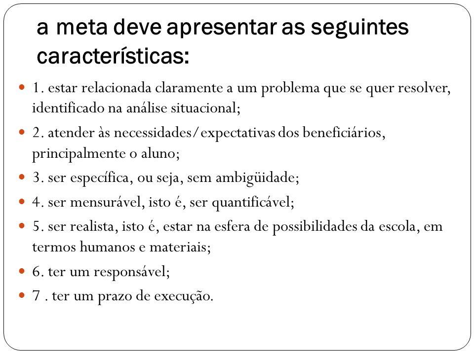 a meta deve apresentar as seguintes características: 1. estar relacionada claramente a um problema que se quer resolver, identificado na análise situa