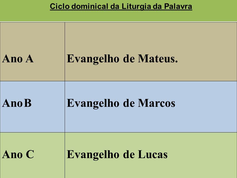 Ano AEvangelho de Mateus. Ano BEvangelho de Marcos Ano CEvangelho de Lucas Ciclo dominical da Liturgia da Palavra