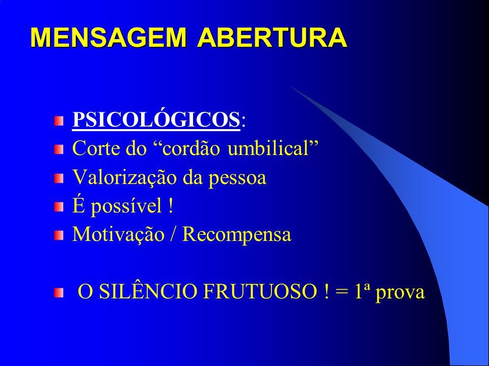 MENSAGEM ABERTURA PSICOLÓGICOS: Corte do cordão umbilical Valorização da pessoa É possível ! Motivação / Recompensa O SILÊNCIO FRUTUOSO ! = 1ª prova