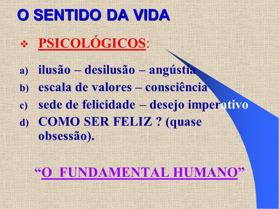 O SENTIDO DA VIDA PSICOLÓGICOS: a) ilusão – desilusão – angústia b) escala de valores – consciência c) sede de felicidade – desejo imperativo d) COMO