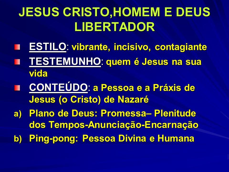 JESUS CRISTO,HOMEM E DEUS LIBERTADOR ESTILO: vibrante, incisivo, contagiante TESTEMUNHO: quem é Jesus na sua vida CONTEÚDO: a Pessoa e a Práxis de Jes