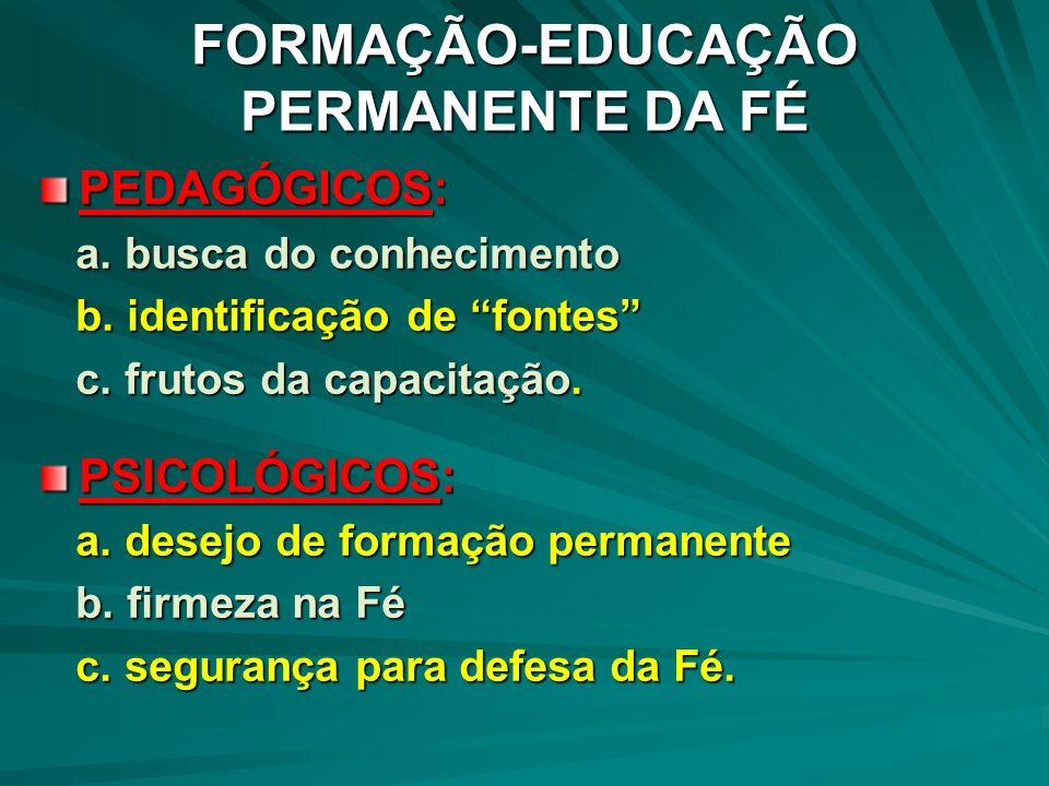 PEDAGÓGICOS: a. busca do conhecimento a. busca do conhecimento b. identificação de fontes b. identificação de fontes c. frutos da capacitação. c. frut
