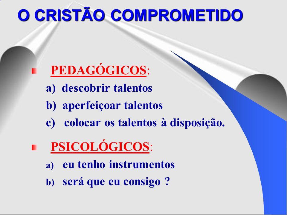 PEDAGÓGICOS: a) descobrir talentos b) aperfeiçoar talentos c) colocar os talentos à disposição. PSICOLÓGICOS: a) eu tenho instrumentos b) será que eu