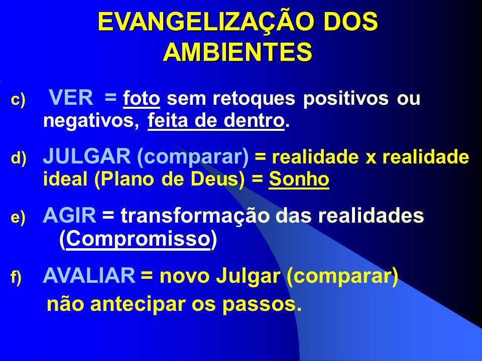 EVANGELIZAÇÃO DOS AMBIENTES c) VER = foto sem retoques positivos ou negativos, feita de dentro. d) JULGAR (comparar) = realidade x realidade ideal (Pl