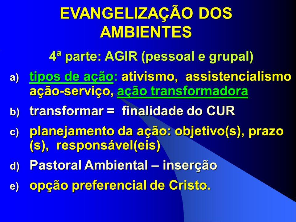 EVANGELIZAÇÃO DOS AMBIENTES 4ª parte: AGIR (pessoal e grupal) a) tipos de ação: ativismo, assistencialismo ação-serviço, ação transformadora b) transf