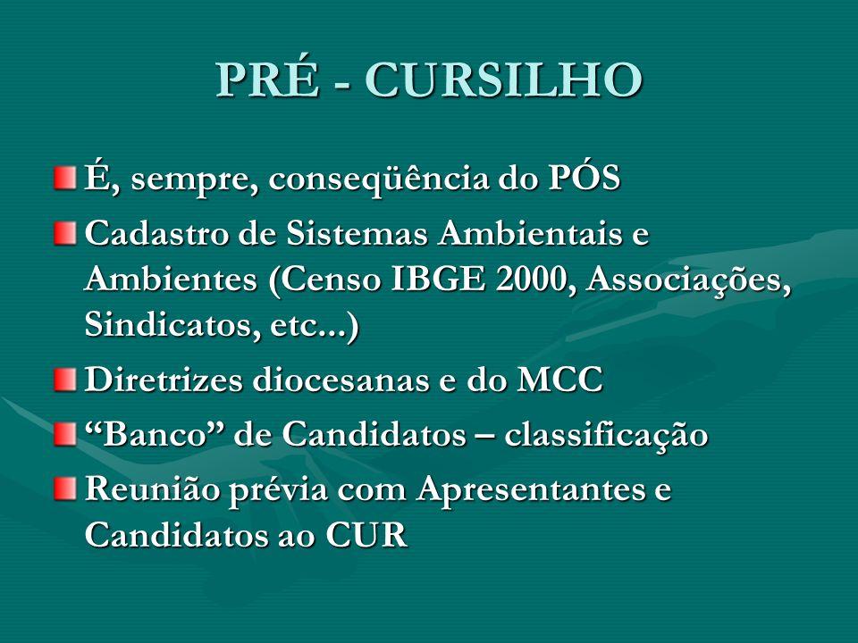 PRÉ - CURSILHO É, sempre, conseqüência do PÓS Cadastro de Sistemas Ambientais e Ambientes (Censo IBGE 2000, Associações, Sindicatos, etc...) Diretrize