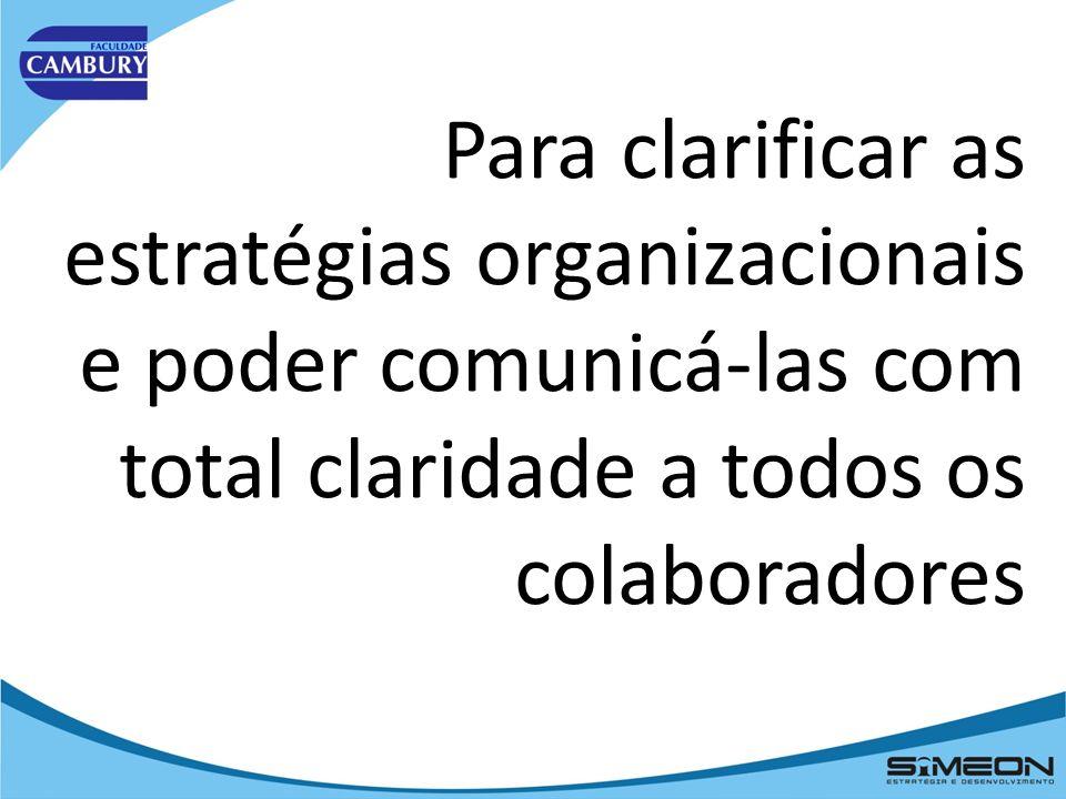 Para identificar os processos internos chave que levam ao êxito estratégico