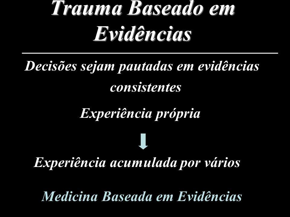 Trauma Baseado em Evidências Decisões sejam pautadas em evidências consistentes Experiência própria Experiência acumulada por vários Medicina Baseada