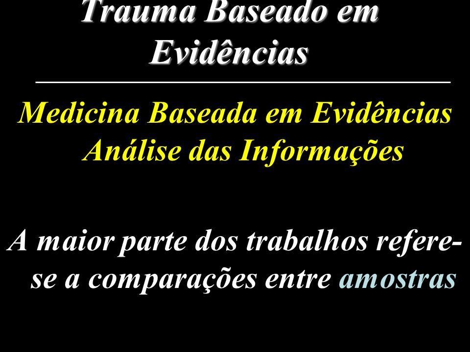 Trauma Baseado em Evidências Medicina Baseada em Evidências Análise das Informações A maior parte dos trabalhos refere- se a comparações entre amostra
