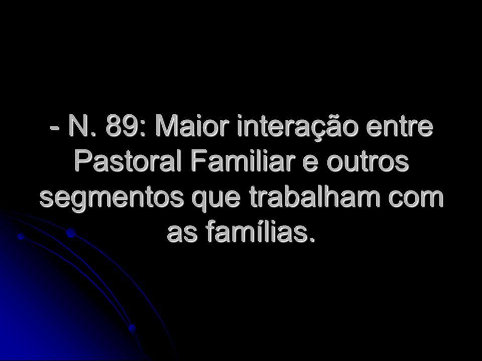 - N. 89: Maior interação entre Pastoral Familiar e outros segmentos que trabalham com as famílias.