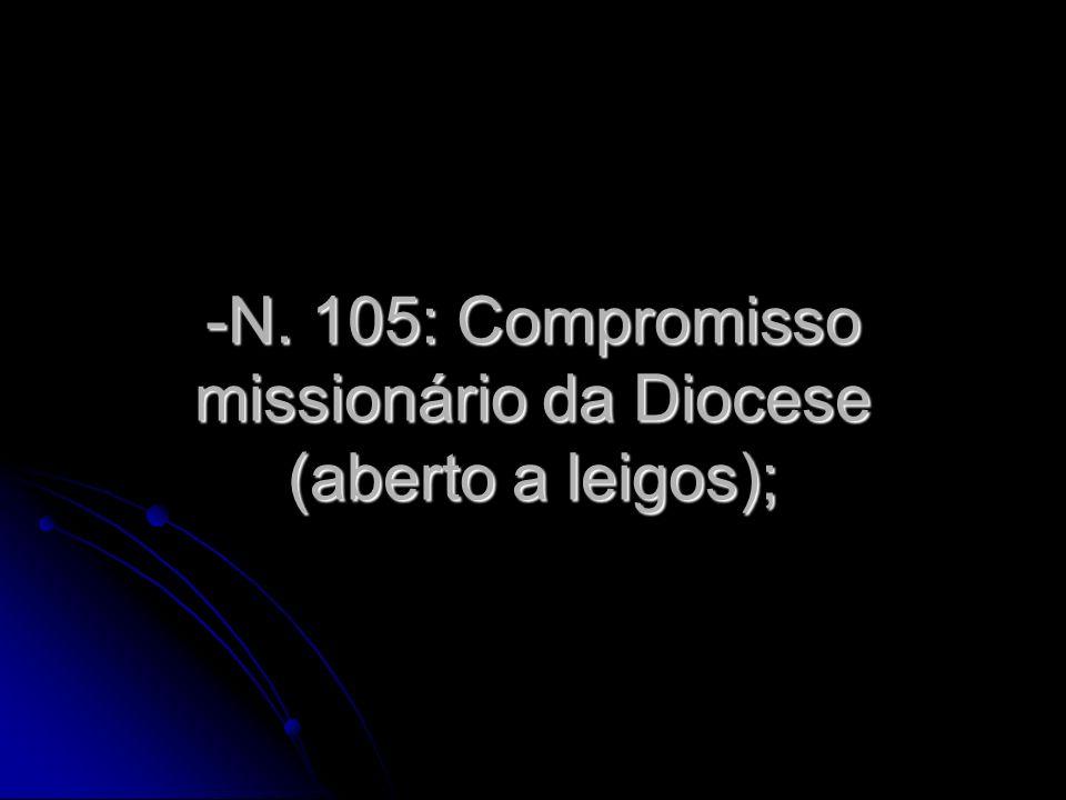 -N. 105: Compromisso missionário da Diocese (aberto a leigos);