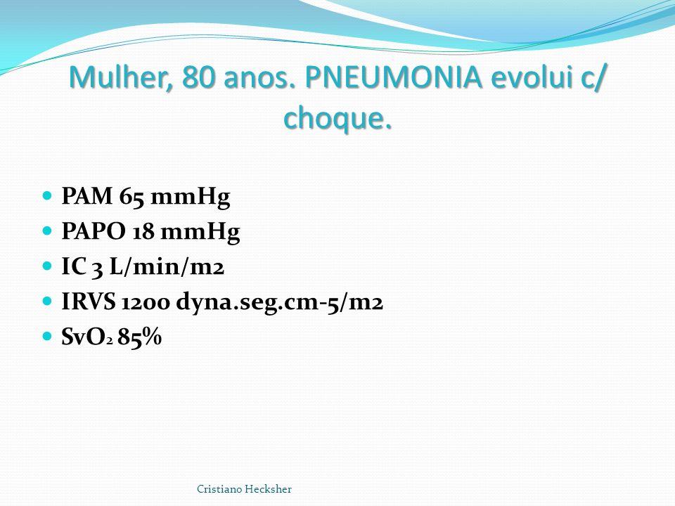 Mulher, 80 anos. PNEUMONIA evolui c/ choque. PAM 65 mmHg PAPO 18 mmHg IC 3 L/min/m2 IRVS 1200 dyna.seg.cm-5/m2 SvO 2 85% Cristiano Hecksher