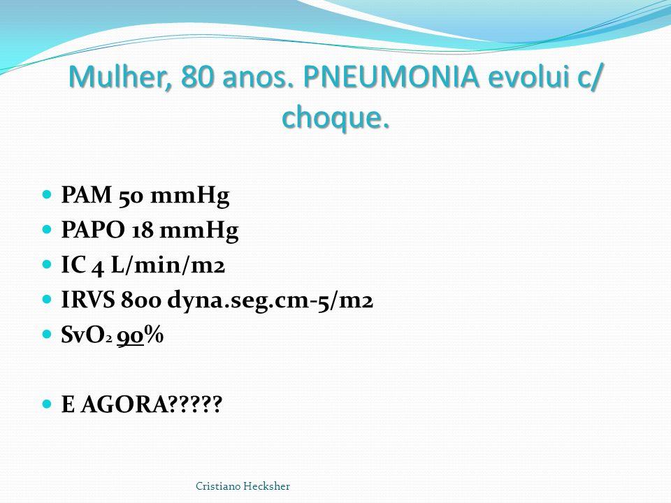 Mulher, 80 anos. PNEUMONIA evolui c/ choque. PAM 50 mmHg PAPO 18 mmHg IC 4 L/min/m2 IRVS 800 dyna.seg.cm-5/m2 SvO 2 90% E AGORA????? Cristiano Heckshe