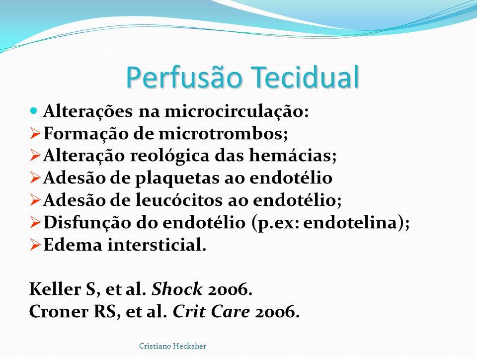 Perfusão Tecidual Alterações na microcirculação: Formação de microtrombos; Alteração reológica das hemácias; Adesão de plaquetas ao endotélio Adesão d