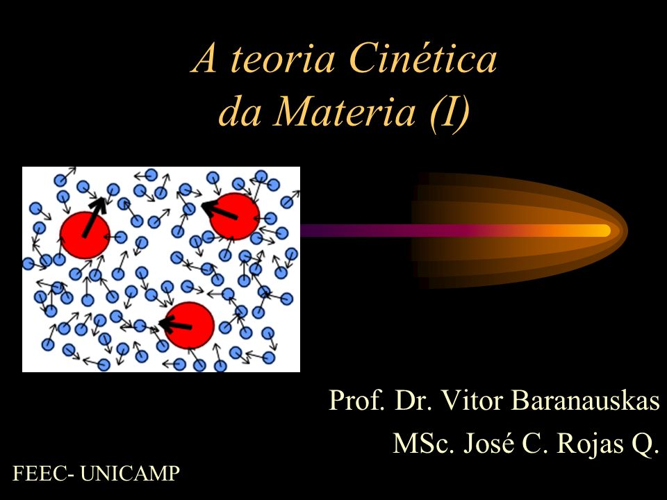 A teoria Cinética da Materia (I) Prof. Dr. Vitor Baranauskas MSc. José C. Rojas Q. FEEC- UNICAMP