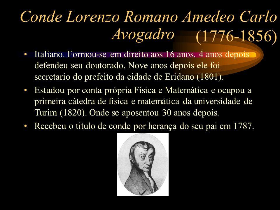 Conde Lorenzo Romano Amedeo Carlo (1776-1856) Avogadro Italiano. Formou-se em direito aos 16 anos. 4 anos depois defendeu seu doutorado. Nove anos dep