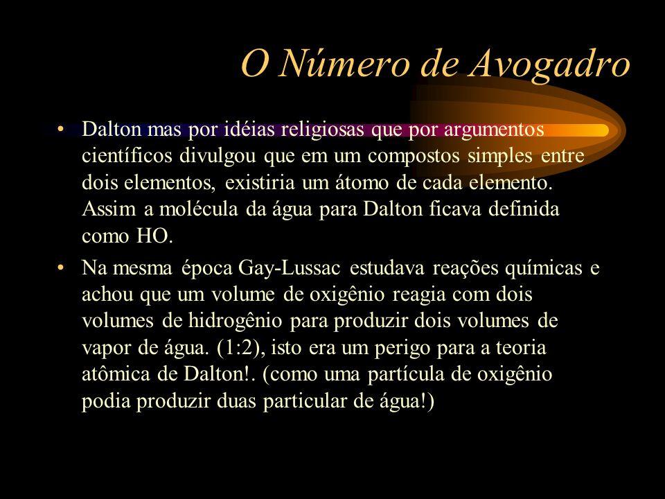 O Número de Avogadro Dalton mas por idéias religiosas que por argumentos científicos divulgou que em um compostos simples entre dois elementos, existi