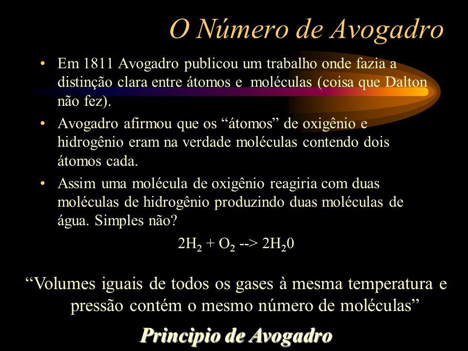 O Número de Avogadro Em 1811 Avogadro publicou um trabalho onde fazia a distinção clara entre átomos e moléculas (coisa que Dalton não fez). Avogadro