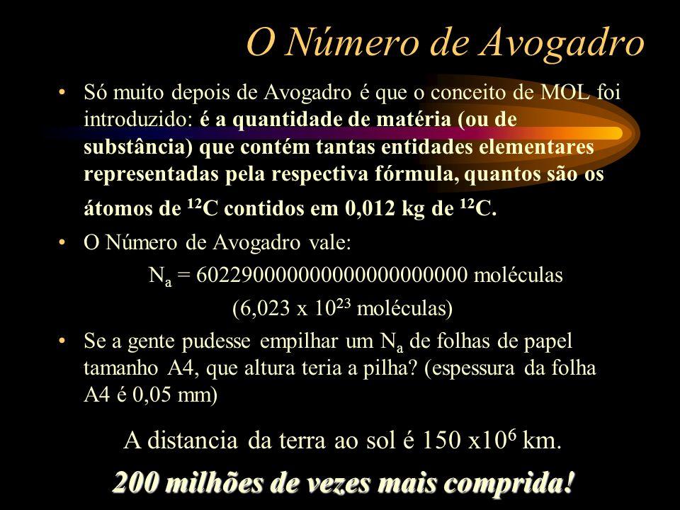 O Número de Avogadro Só muito depois de Avogadro é que o conceito de MOL foi introduzido: é a quantidade de matéria (ou de substância) que contém tant