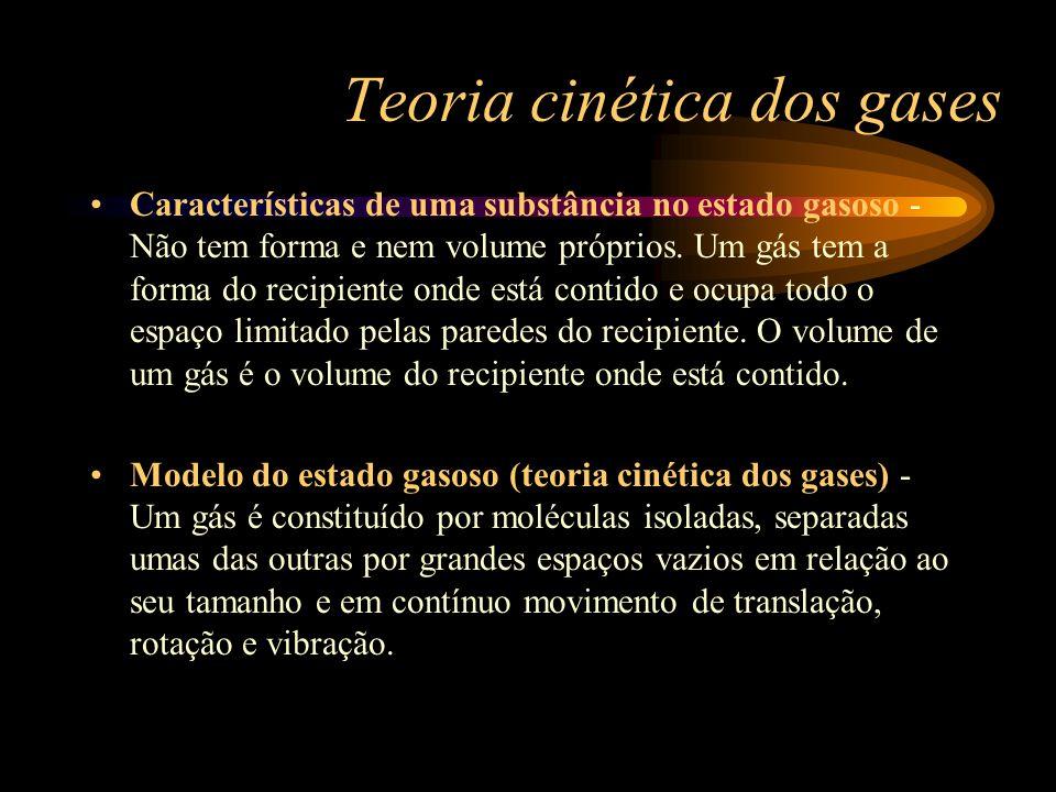 Teoria cinética dos gases Características de uma substância no estado gasoso - Não tem forma e nem volume próprios. Um gás tem a forma do recipiente o