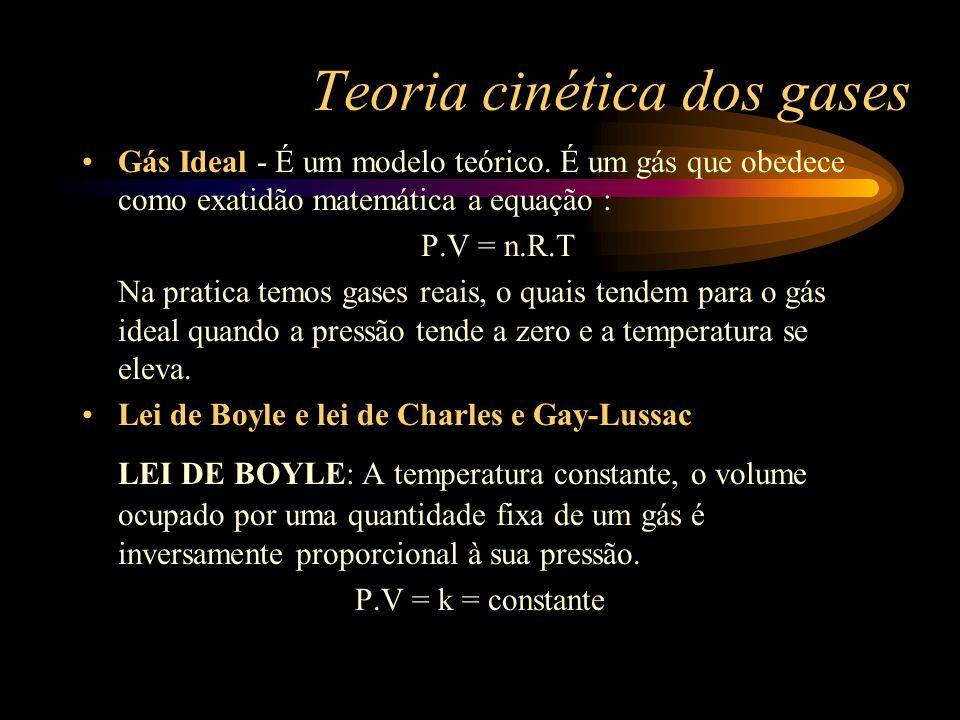 Teoria cinética dos gases Gás Ideal - É um modelo teórico. É um gás que obedece como exatidão matemática a equação : P.V = n.R.T Na pratica temos gase