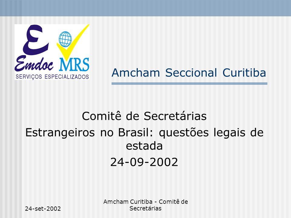 24-set-2002 Amcham Curitiba - Comitê de Secretárias Amcham Seccional Curitiba Comitê de Secretárias Estrangeiros no Brasil: questões legais de estada