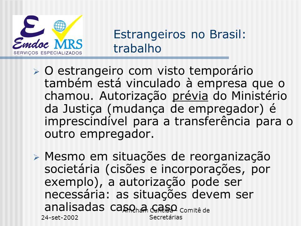 24-set-2002 Amcham Curitiba - Comitê de Secretárias Estrangeiros no Brasil: trabalho O estrangeiro com visto temporário também está vinculado à empres