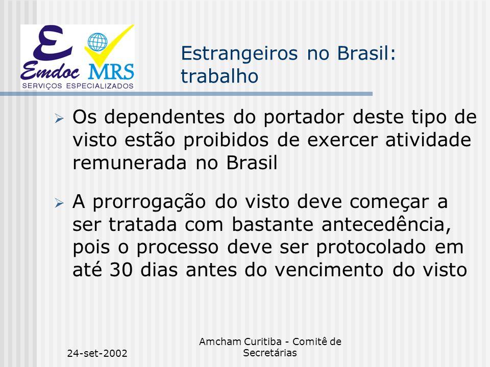 24-set-2002 Amcham Curitiba - Comitê de Secretárias Estrangeiros no Brasil: trabalho Os dependentes do portador deste tipo de visto estão proibidos de