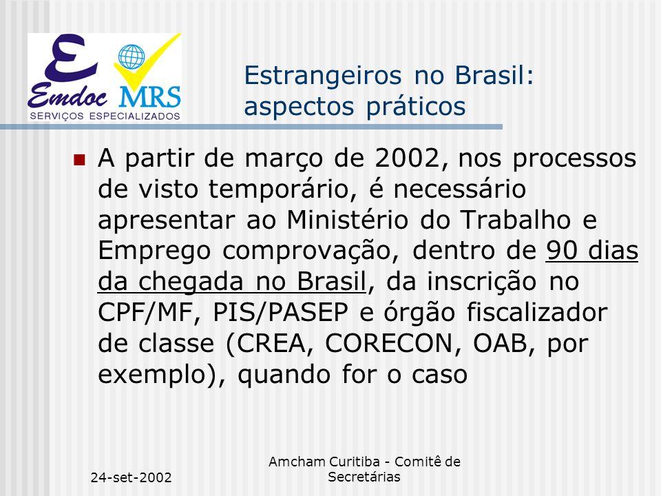24-set-2002 Amcham Curitiba - Comitê de Secretárias Estrangeiros no Brasil: aspectos práticos A partir de março de 2002, nos processos de visto tempor
