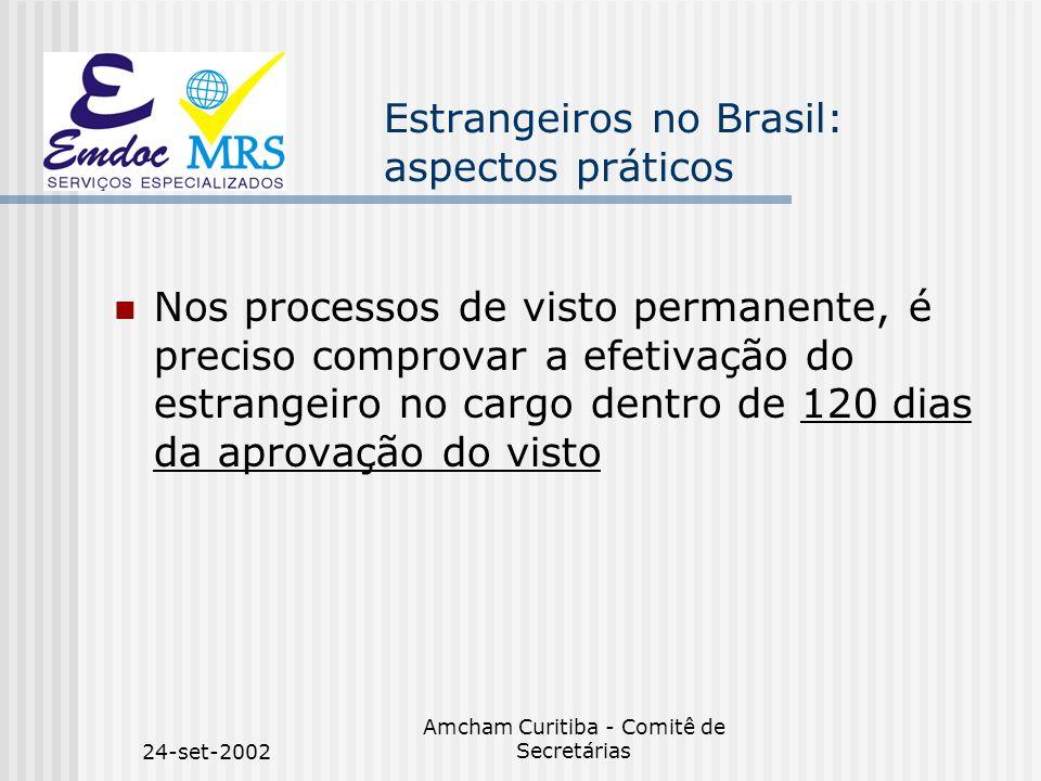 24-set-2002 Amcham Curitiba - Comitê de Secretárias Estrangeiros no Brasil: aspectos práticos Nos processos de visto permanente, é preciso comprovar a