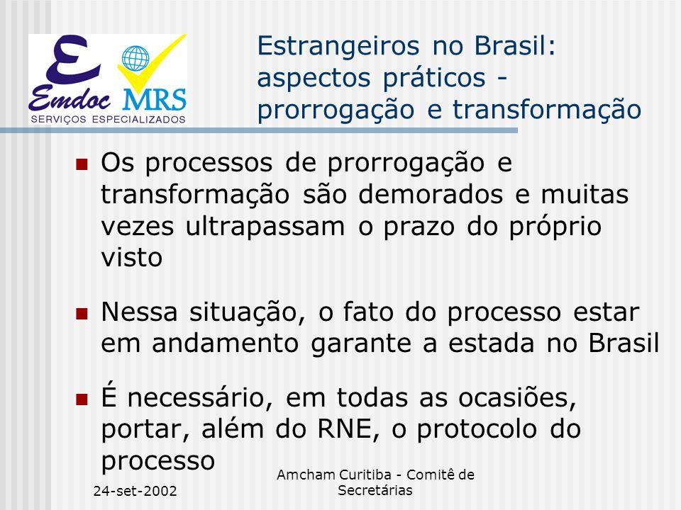 24-set-2002 Amcham Curitiba - Comitê de Secretárias Estrangeiros no Brasil: aspectos práticos - prorrogação e transformação Os processos de prorrogaçã