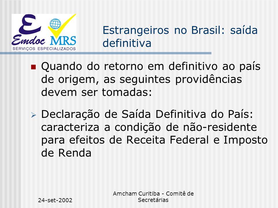 24-set-2002 Amcham Curitiba - Comitê de Secretárias Estrangeiros no Brasil: saída definitiva n Quando do retorno em definitivo ao país de origem, as s