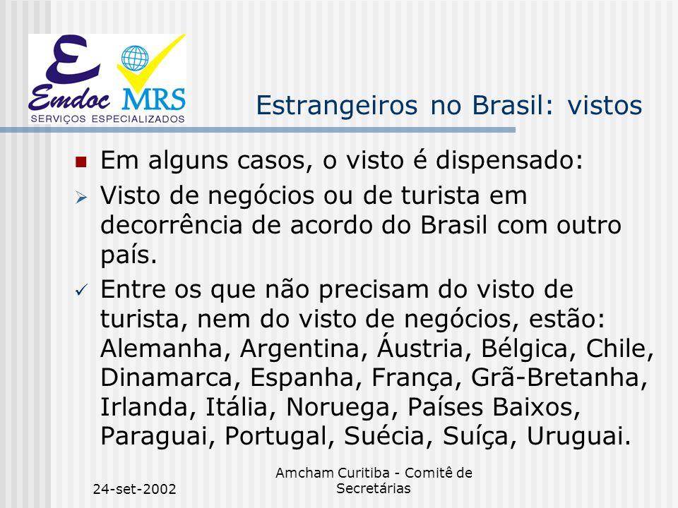 24-set-2002 Amcham Curitiba - Comitê de Secretárias Estrangeiros no Brasil: vistos Em alguns casos, o visto é dispensado: Visto de negócios ou de turi