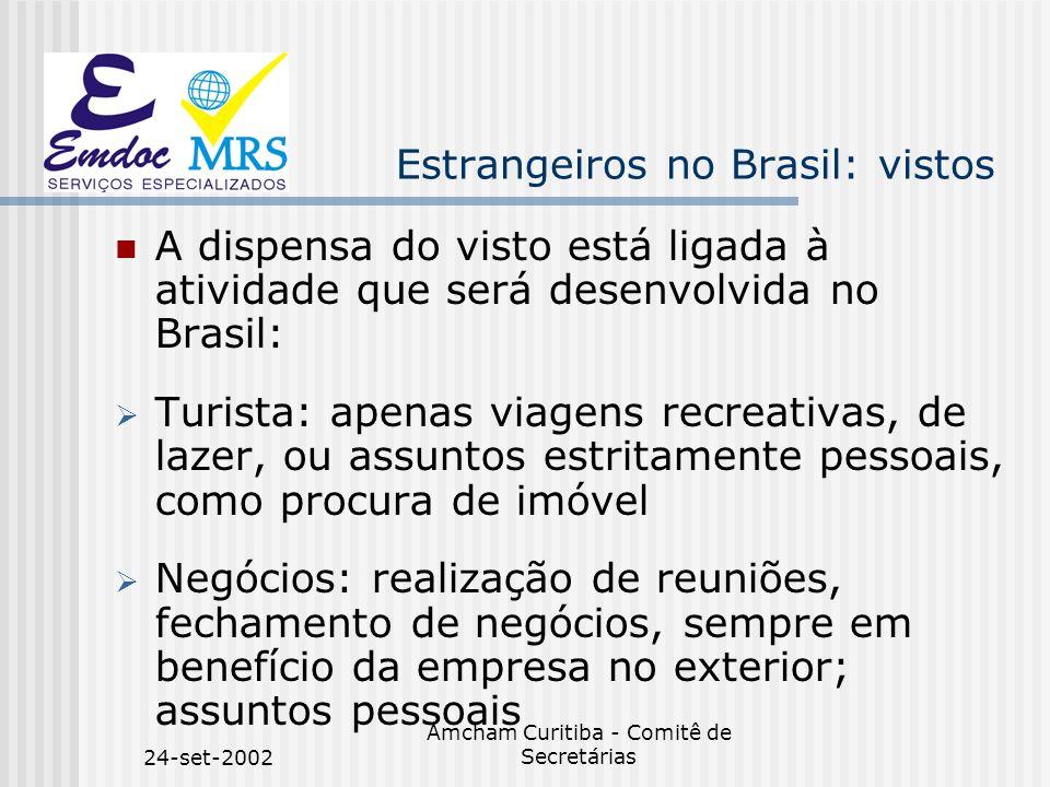 24-set-2002 Amcham Curitiba - Comitê de Secretárias Estrangeiros no Brasil: vistos A dispensa do visto está ligada à atividade que será desenvolvida n