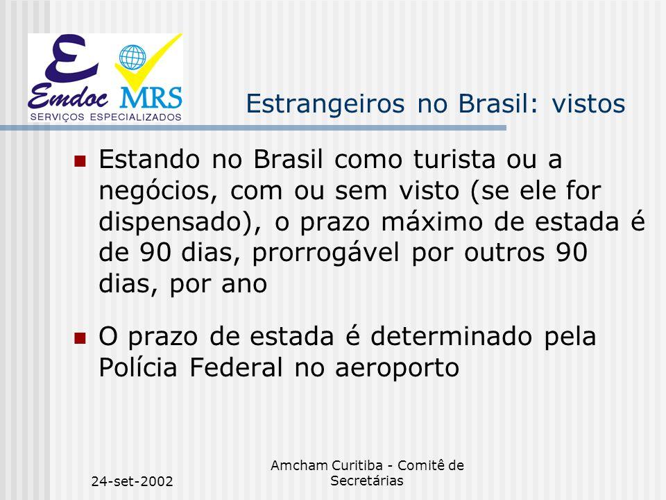 24-set-2002 Amcham Curitiba - Comitê de Secretárias Estrangeiros no Brasil: aspectos práticos O protocolo de RNE, sempre em conjunto com o passaporte, são os documentos de identificação oficiais no Brasil.